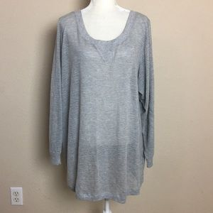 Lane Bryant Grey Knit Perforated Tunic Top